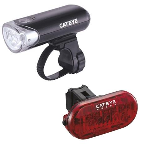 Cateye HL-EL135 Front Light & Omni 5 Rear LED Light Set