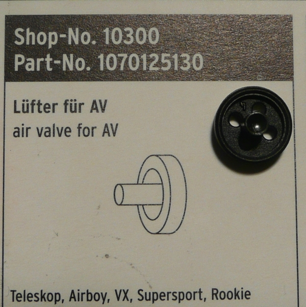 SKS Teleskop Airboy VX Supersport and Rookie Air Valve Insert